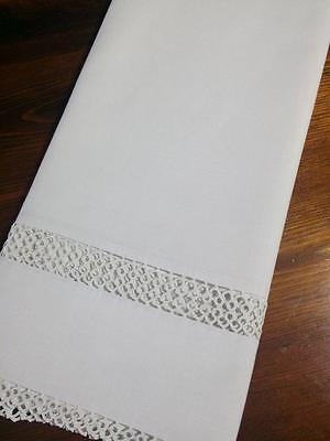 Antique Linen Pillow Case Lace Inserts & Trim  Hand Made 21x39