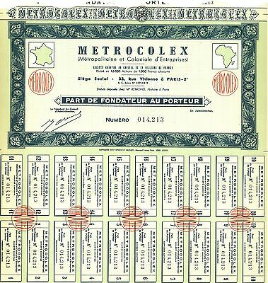 Metrocolex > Paris, France Africa old stock certificate share