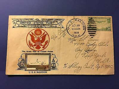 Uss Raleigh Clipper Flown Cover 1939 W/ 20 Cents Trans-Pacific Us Stamp