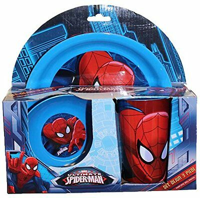 Ultimate Spiderman 3 Piece Dinner Breakfast Set Children Plate Bowl Cup