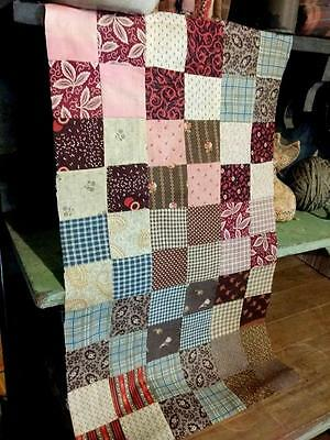 Antique 19thc Fabric Prints Madder Browns Reds Quilt Top Pc 25x15 Prim Homespuns
