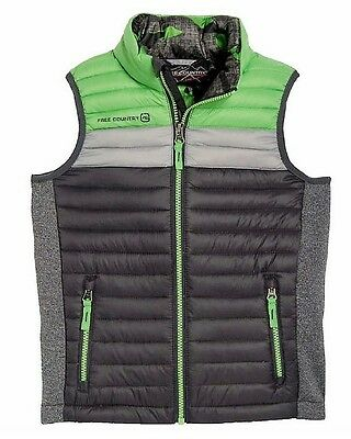 NEW Free Country Boys Power Down Vest Green/Gray - Size M (10/12)