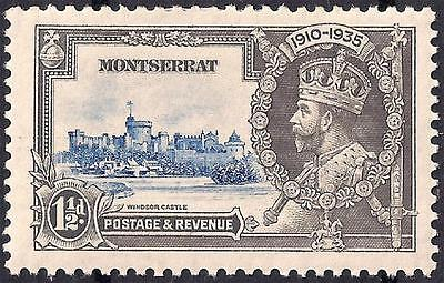 MONTSERRAT SG95 SILVER JUBILEE 1935 1&1/2p KGV 4 DASHES BY TURRET PL5 RW6 COL5