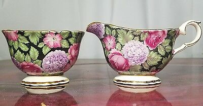 "James Kent Old Foley China ""Tapestry"" Floral Chinz Creamer and Sugar"