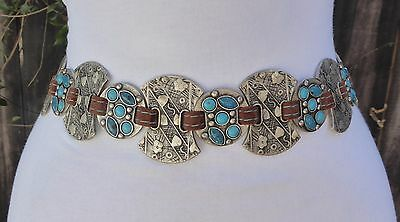 Vintage Silver Tone Metal Embossed w/faux. Turquoise Color Beads Tie Belt