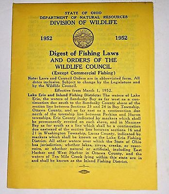 Vintage State Ohio Digest of Fishing Laws & Orders of the Wildlife Council 1952