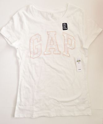 New gap kids short sleeve arch logo t shirt girls size 2XL XXL 13 white pink