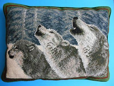 "Rare Wolves Wolf Needlepoint Throw Pillow 16"" X 11"""