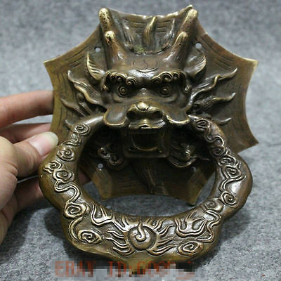 Folk Chinese FengShui Bronze Copper Dragon Head Mask Statue Gate Door Knocker NR
