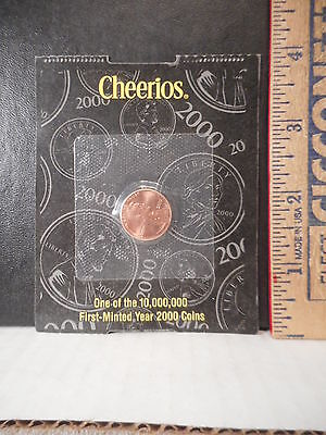 Cheerios Cereal Premium Year 2000 Penny First Minted Coin  48TB.