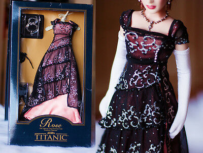 Franklin Mint Titanic Rose Dinner Dress Ensemble MIB *Bonus* Long Formal Gloves