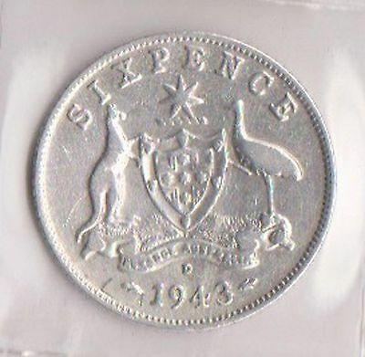 (H43-30) 1943 AU six pence sterling silver coin (D) (C)