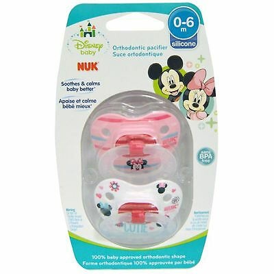 NUK Disney Baby Minnie Mouse Orthodontic Pacifier, 0-6 Months, 2 Pacifiers