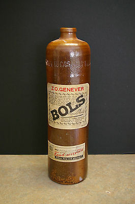 ORIGINAL 1880-1910 BOLS Z.O. GENEVER 1 L/33 oz POTTERY LIQUOR BOTTLE-NETHERLANDS