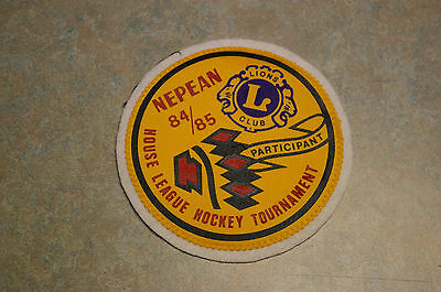 Vintage Canadian Lions Club 'nepean 84/85 House League Hockey Tournament' Patch