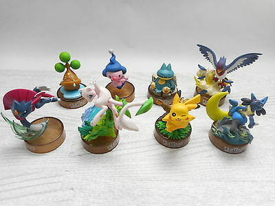Kaiyodo Pokemon Figure Mew Lucario Pikachu Bottle Cap Set of 8 Toy Original