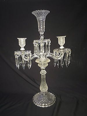 RARE Antique French 3-light GLASS Candelabra BACCARAT STYLE