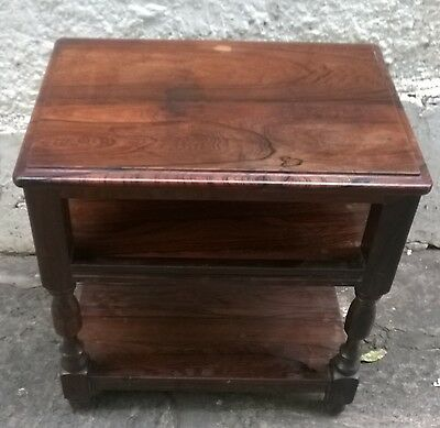 Beautiful Brazilian Rosewood Bedside Table. Fabulous Wood. Thick Solid Top.