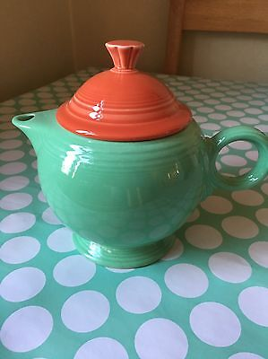 Art Deco FIESTA WARE Pottery Green And Orange 1 Litre TEAPOT Large RING Handle