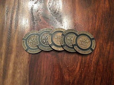 Set Of 5. $100 Black Wsop 2005 Brass Poker Chips / Card Guard