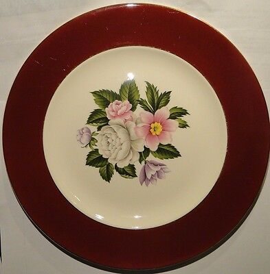 "Homer Laughlin Cavalier Margaret Rose Maroon Dinner Plate 10"" MW185 EXCELLENT"