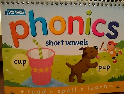 PHONICS flip chart, Spellings Reading Writing. Three letter words. Short Vowels