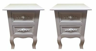 Set of Two Small 2Drawer BEDSIDE TABLE cabinets in WHITE Shabby Chic Rose Handle
