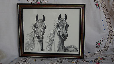 beautiful vintage 1983 Arabian Arab horses horse picture with frame equine