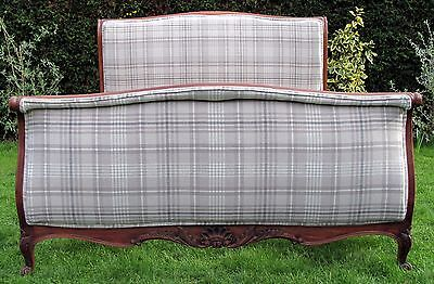 Fabulous French Carved Newly Upholstered Double Bed with Pine Slat Base