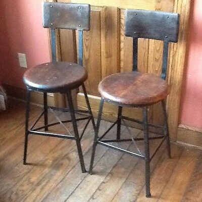 "2 Parent Co. Vtg Industrial Stools W/ Metal Backs & 15"" Wood Seats -  Very Good"