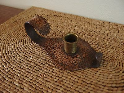 Vintage Arts & Crafts Roycroft Style Hammer Copper Candle Holder
