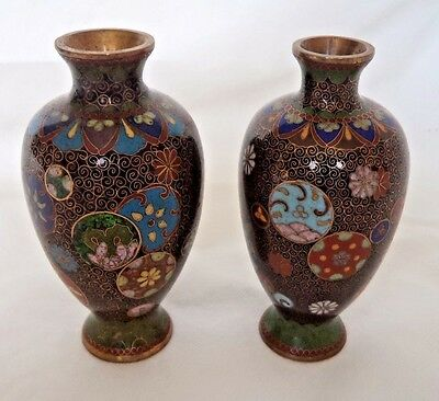 PAIR SUPERB JAPANESE MEIJI c1900 COPPER & CLOISONNE VASES - SIGNED