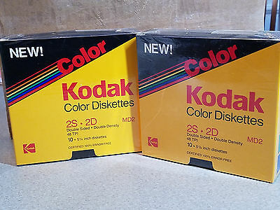"20 Vintage Kodak Color 5 1/4"" Floppy Diskettes 2S 2D MD2 48 TPI New Unused NOS"