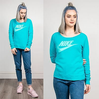 Nike Turquoise Blue Sweatshirt Jumper Sweater Casual Sports Wavey Retro 90's 12