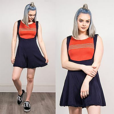 Womens Vintage 90's Scoop Neck Playsuit Romper Shorts Dungarees Style Cute 8