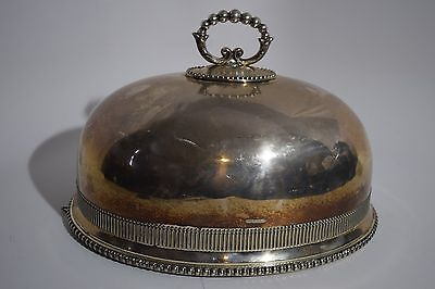 VINTAGE Belkin Sons SILVERPLATE MEAT OR FOOD COVER DOME WITH A FANCY HANDLE 14""