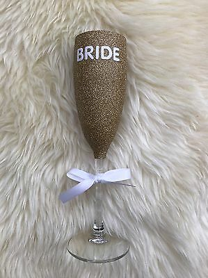 Wedding, Bride Glitter Glass Champagne Flute Present Gift