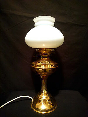 Vintage BRASS Oil MILK GLASS Shade VICTORIAN Style ELECTRIC Table LAMP
