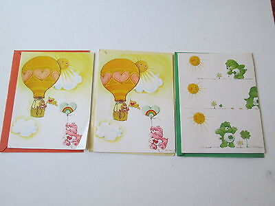 """Vintage Lot of 3 American Greetings Care Bear Cards with Envelopes Unused 5x7"""""""
