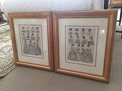 Antique ORIGINAL French Engraving Townsend Parisian Costumes 1860 Fashion PAIR