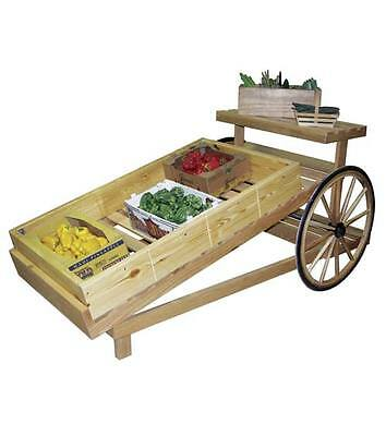 Slanted Wooden produce cart  With Amish wagon wheel Allow 10 days for production