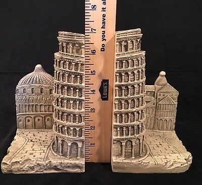 2002 Pair of Leaning Tower of Pisa Bookends Resin with an Antique Finished Look