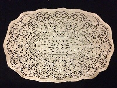 Adorable Vintage Darning on the Net Lace  Oval Doily, Centerpiece Floral Motif