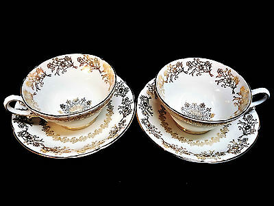 Stanley Fine Bone China England 2 Tea Cups and Saucers Set Gold Pattern