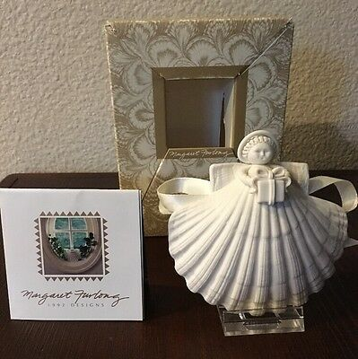 """Margaret Furlong Hand Crafted Shell Angel with Gift Porcelain NIB 4"""" 1991"""