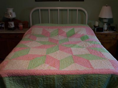 Vintage Pink Green White Star Pattern Technique Reversible Quilt  81 x 81