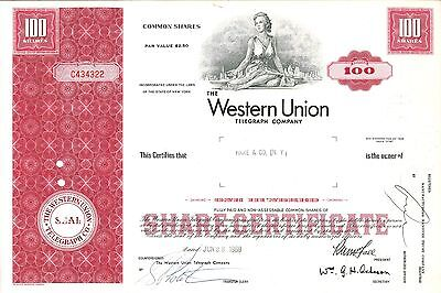 The Western Union Telegraph Company   1968 New York old stock certificate share
