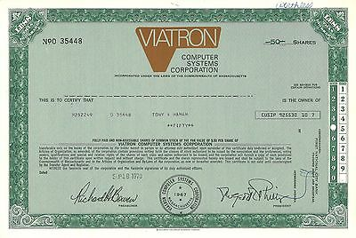 Viatron Computer Systems > 1970 Massachusetts old stock certificate share