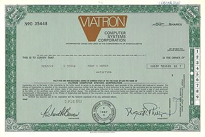 Viatron Computer Systems   1970 Massachusetts old stock certificate share