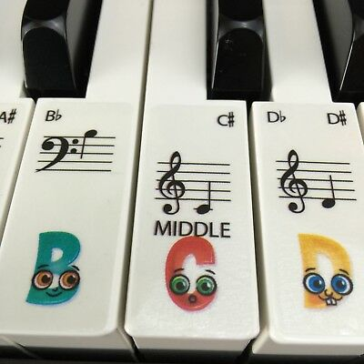 CHILDRENS CLEAR Keyboard / Piano Stickers up to 61 KEYS learn Transparent